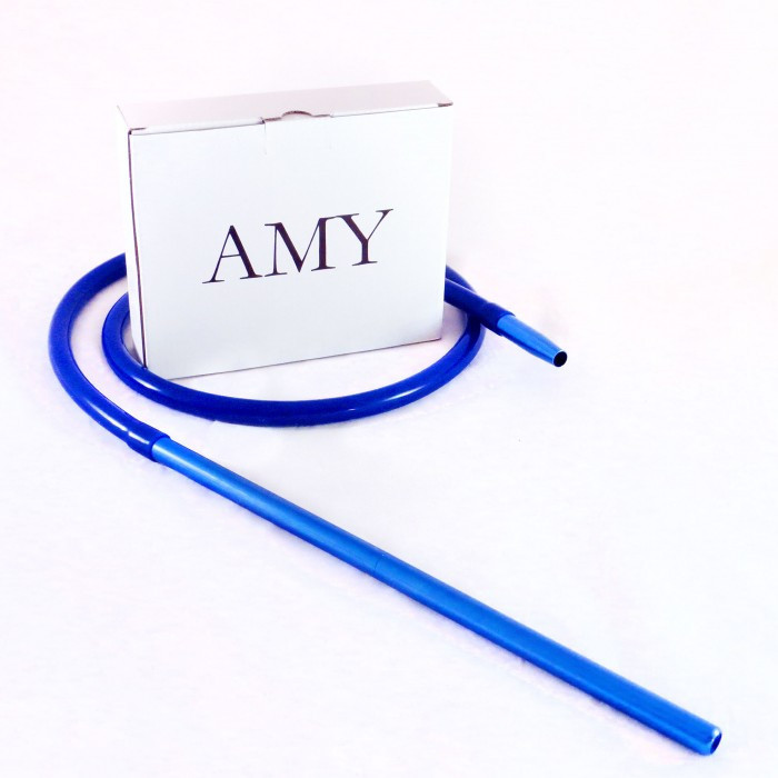 Шланг Amy DeLuxe силиконовый с алюминиевым мундштуком, синий