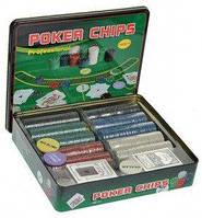 Покерный набор на 500 фишек с номиналом + сукно (жестяная коробка) (РК-718418)