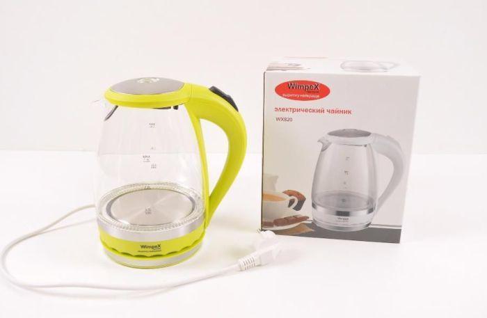 Электрический Стеклянный Чайник Wimpex WX 820, Электрочайник для дома, Электрочайник 1,7 литра