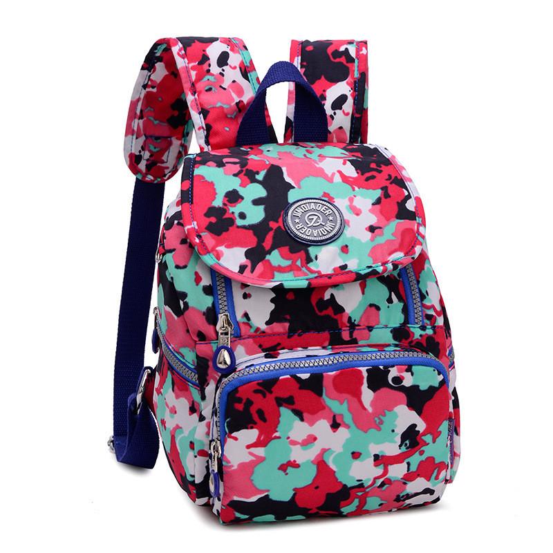 Рюкзак нейлоновый Jinquaer Цветочный камуфляж 30х21х10см Розовый (02007/07)