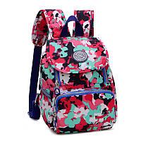 Рюкзак нейлоновый Jinquaer Цветочный камуфляж 30х21х10см Розовый (02007/07), фото 1