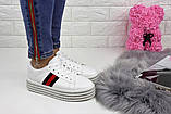 Кроссовки женские белые на платформе эко - кожа, фото 4