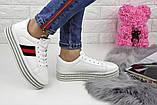Кроссовки женские белые на платформе эко - кожа, фото 8