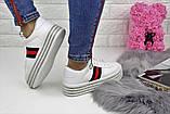 Кроссовки женские белые на платформе эко - кожа, фото 2