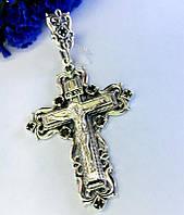 Серебряный крест с черным цирконом Распятие