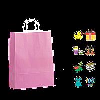 Бумажный пакет розовый с кручеными ручками 200*80*240мм (Ш.Г.В) Пл 100г (1189)