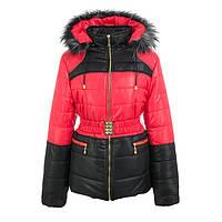 Куртка детская для девочки зимняя-демисезонная Радуга красная/черная зима/осень/весна 134,140,146,152,158см