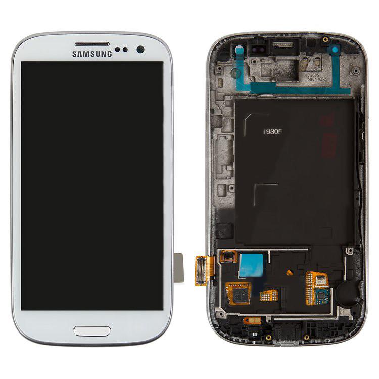 Дисплей Samsung I9305 Galaxy S3, белый, с сенсорным экраном, с передней панелью, оригинал (переклеено стекло)