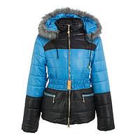Куртка детская для девочки зимняя-демисезонная Радуга голубая/черная зима/осень/весна 134,140,146,152,158см