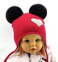 Оптом шапка детская с 48 по 52 размер ангора пампонами шапки головные уборы детские опт, фото 1
