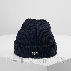 LACOSTE (ориг.бирка) | Мужская Синяя зимняя шапка Лакост | Чоловіча Синя зимова шапка Лакоста