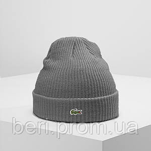 LACOSTE (ориг.бирка) | Мужская Серая зимняя шапка Лакост | Чоловіча сіра зимова шапка Лакоста