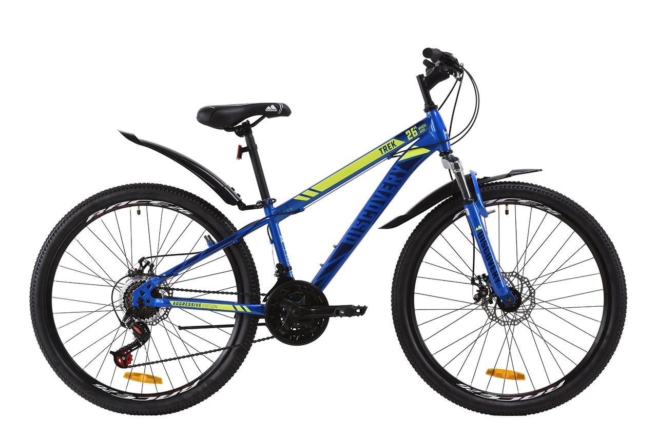 """Велосипед горный 26"""" Discovery Trek AM DD 2020, дисковые тормоза, рама 13"""" и 15"""", синий"""