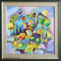 Картины для интерьера купить абстракция Яблочный город