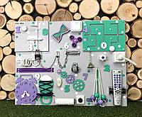 Развивающая доска Бизиборд размер 50*65  игрушка купить бізіборд busyboard мятно-фиолетовый с часами, фото 1