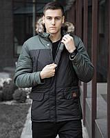 Фирменная мужская парка Pobedov на зиму теплая стильная оригинальная длинная курточка победов (черная/хаки)