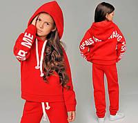 """Эксклюзивный детский тёплый спортивный костюм на байке для девочки 1024 """"Подросток Надписи"""" в расцветках"""