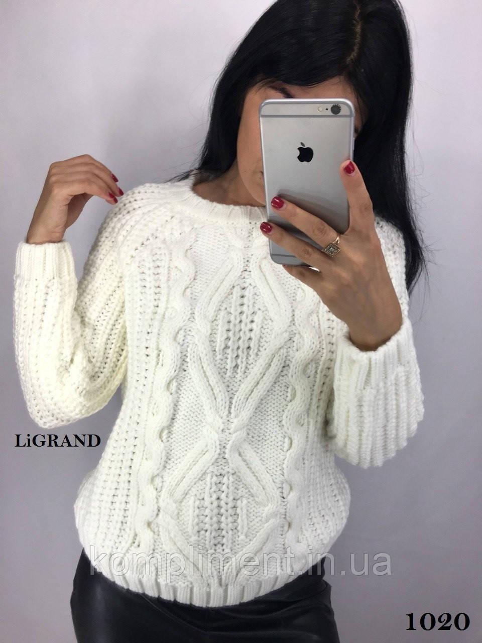 Женский  вязаный шерстяной свитер,белый.Производство Турция.BG 1020
