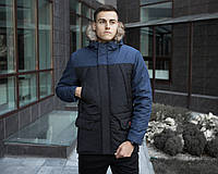 Фирменная зимняя мужская парка Победов теплая водонепроницаемая с капюшоном и карманами (черная с синим)