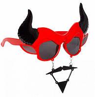 Очки с усами бык или чертик, прикол для вечеринки маскарад