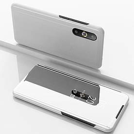 Чехол книжка для Samsung Galaxy A50 A505FD боковой с зеркальной крышкой, серебристый