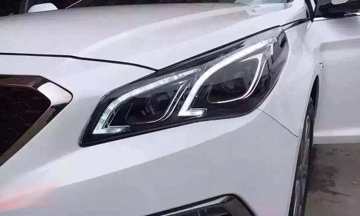 Передние фары Hyundai Sonata LF (2015+) тюнинг LED оптика (линза под ксенон)