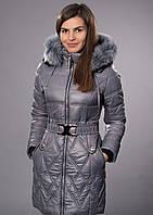 Зимнее женское молодежное пальто. Цвет серый