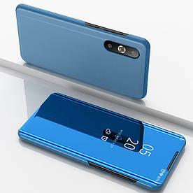 Чехол книжка для Samsung Galaxy A50 A505FD боковой с зеркальной крышкой, голубой
