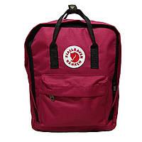 Комплект рюкзак, сумка + органайзер Fjallraven Kanken Classic, канкен класик. Бордовый с черным, фото 1