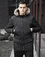 Парка мужская Pobedov теплая на зиму из водонепроницаемой плащевки с капюшоном и карманами (черная)