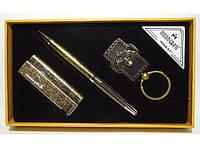 MTC-101 Подарочный набор MOONGRASS: ручка + брелок + зажигалка, Сувенир под бронзу, Оригинальный подарок