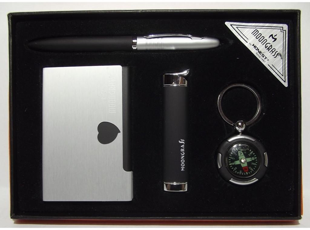 MTD-23 Подарочный набор MOONGRASS: ручка + брелок + визитница + зажигалка, Деловой сувенир, Подарок мужчине