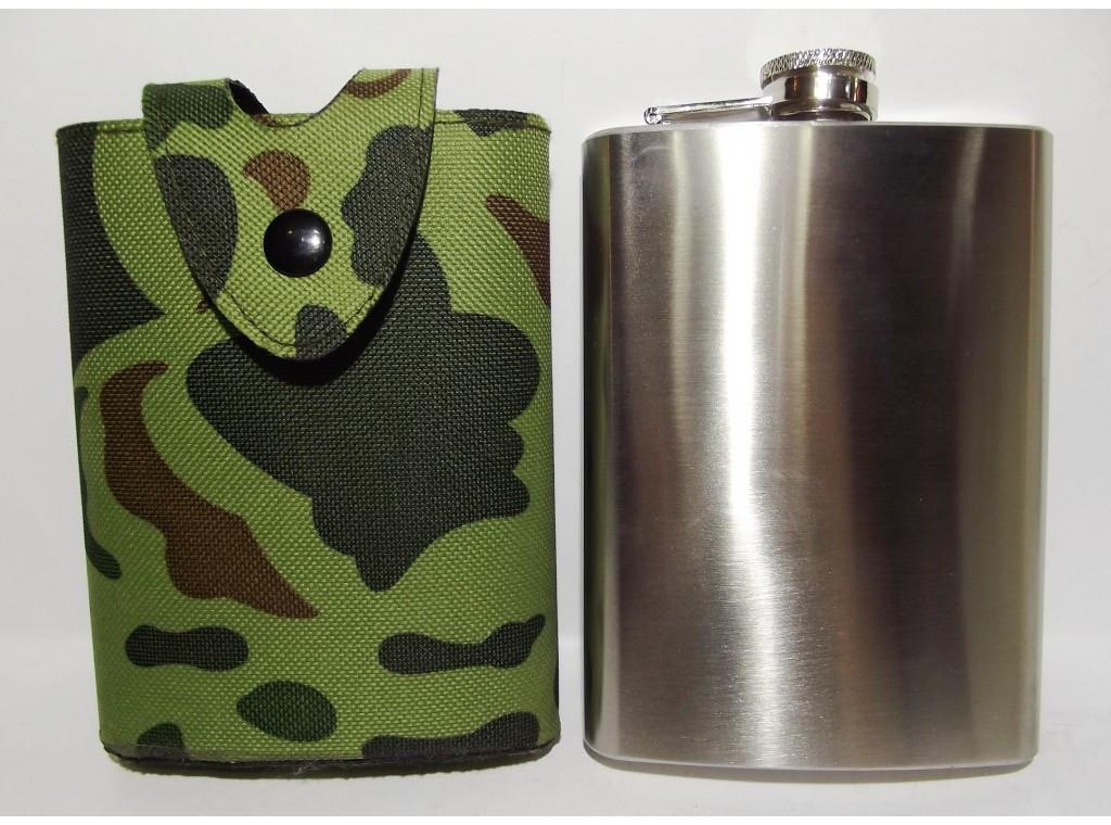 F4-58 Фляга для алкоголя, Фляга из нержавеющей стали, Подарочная фляга 240 мл, Фляга с чехломна пояс