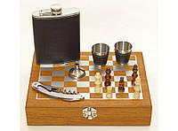 NF4-17  Подарочный набор фляга стопки штопор в коробке,Набор с шахматами в деревянном сундучке, Фляга 240 мл, фото 1
