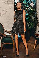 Короткое вечернее платье с декором без рукавов серебристо-черное