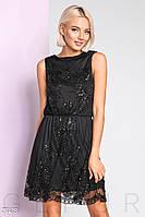 Короткое вечернее платье с декором без рукавов черное