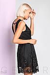 Короткое вечернее платье с декором без рукавов черное, фото 3