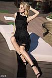 Короткое вечернее платье с декором без рукавов черное, фото 4