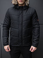 Куртка мужская зимняя Pobedov Winter фирменная теплая короткая дутая с капшоном (черная)