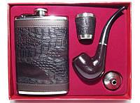 NF195 Набор: фляга + стопка + трубка + лейка, Подарочный набор с флягой и трубкой, Фляга для алкоголя