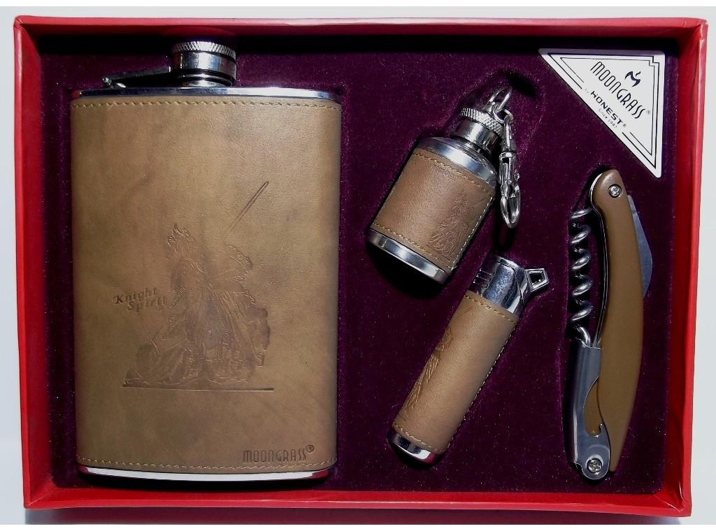 NFMTE-38 Стильный набор с флягой, Подарочный набор: фляга + нож/штопор + зажигалка + мини фляга в виде брелка