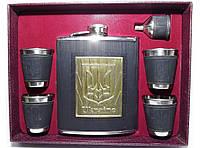 F5-84 Набор с украинской символикой , Фляга 540 мл, Набор большой: фляга + стопки + лейка, Набор подарочный