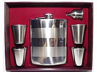 F5-81 Набор большой: фляга + стопки + лейка, Фляга для алкоголя 540 мл, Подарочный набор с флягой