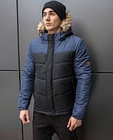 Мужская зимняя куртка Pobedov Winter  теплая короткая дутая победов с капшоном (черная с синим)