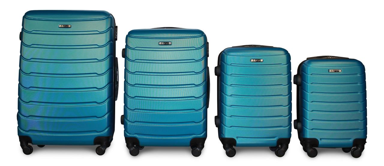Набор чемоданов 4 штуки в 1 Fly 1107 на 4 колесах Синий