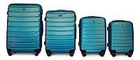 Набор чемоданов 4 штуки в 1 Fly 147 на 4 колесах Синий, фото 1