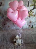 Розовые сердца надутые гелием