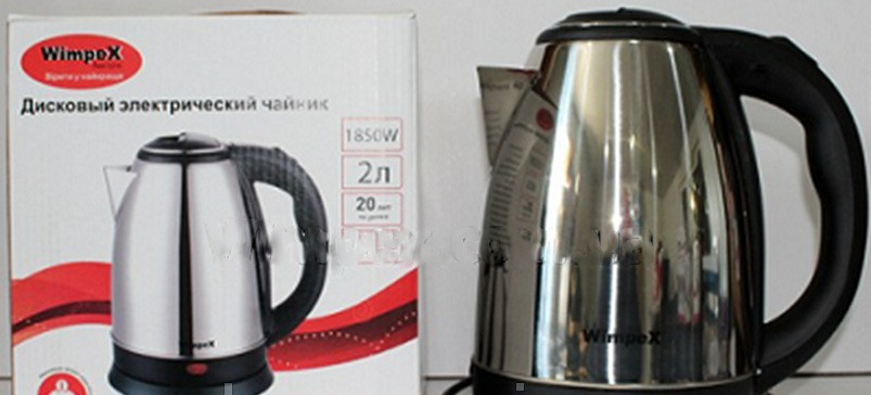 Дисковый электрический чайник, Электрический чайник WIMPEX WX 2831, 2 л, 1850 В, Металлический чайник