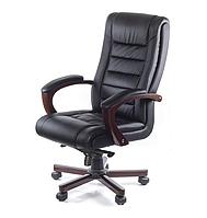 Кожаное кресло руководителя с высокой спинкой и деревянным декором ГАСПАР EX MB черный