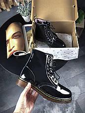 Женские зимние лаковые ботинки в стиле Dr. Martens 1460 Black Lacquered с мехом, фото 2